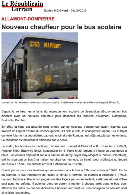 Rentrée 2013 - Bus Scolaire Allamont